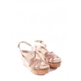 Sandales compensées en liège et suede beige rosé Prix boutique 550€ Taille 37,5