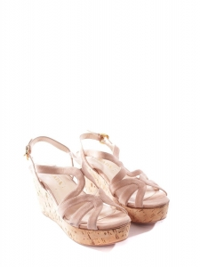ee34291583b Beige pink suede and cork wedge sandals Retail price €550 Size 37.5