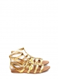 Gold metallic leather flat gladiator sandals Retail price €550 Size 37.5