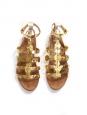Sandales plates gladiator en cuir doré Px boutique 550€ Taille 36,5