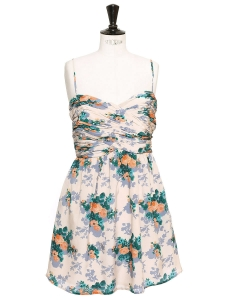 Orange, blue and green floral print ecru silk strapless dress NEW Retail price €300 Size 40