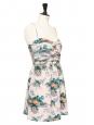 Orange, blue and green floral print ecru silk strapless dress NEW Retail price €300 Size 40