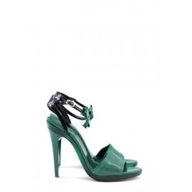Sandales en cuir vert à talon, bride cheville et noeud NEUVES Prix boutique 500€ Taille 37