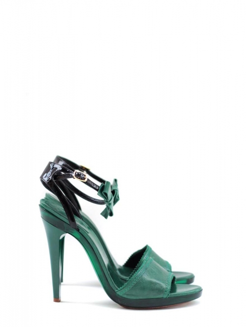 Emerald green leather ankle strap and bow heel sandals NEW Retail for 500€ Size 37