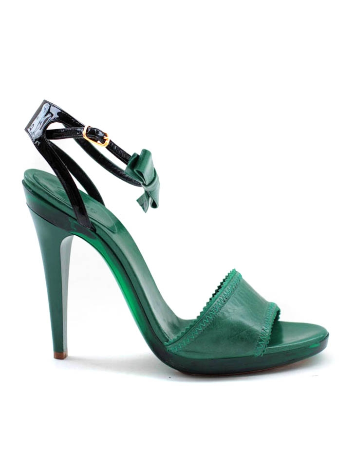 6d86a04d543 Louise Paris - CHLOE Emerald green leather ankle strap and bow heel ...