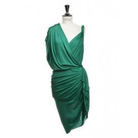 Robe de cocktail drapée style grec vert émeraude Prix boutique 2050€ Taille 34