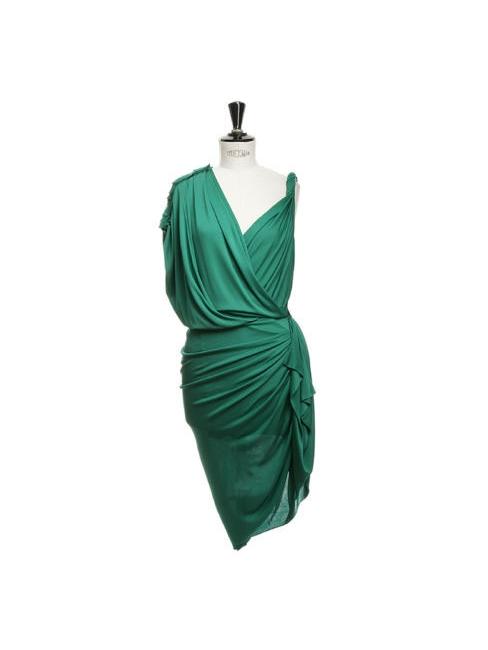 Emerald green draped Grecian cocktail dress Retail price €2050 Size 34