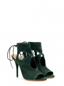 ab77de300b28 AQUAZZURA · SEXY THING cut out dark green suede leather thin heel sandals  Retail price €460 Size 39.5