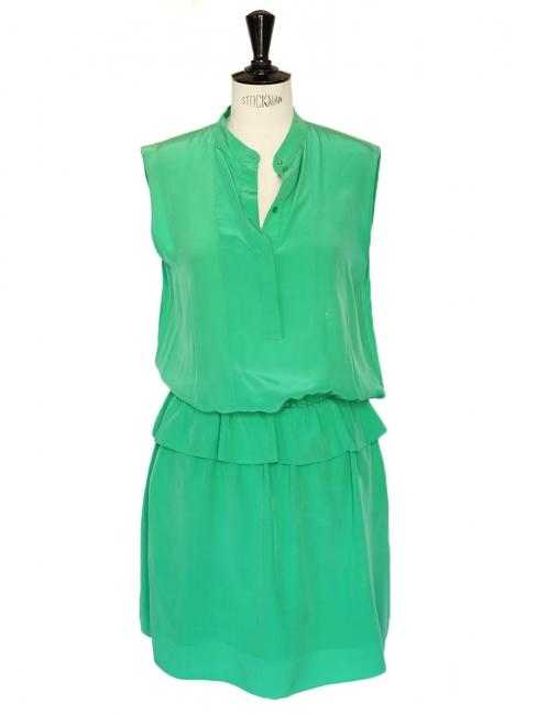 Robe sans manches en crêpe de soie vert émeraude Px boutique 1300€ Taille 36