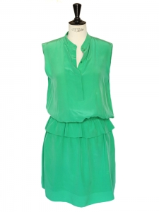 Emerald green crepe de chine silk dress Retail price €1300 Size 36/38