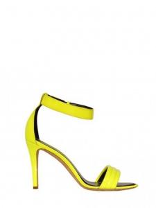 Sandales à talon et bride cheville en cuir verni jaune vif NEUVES Prix boutique 610€ Taille 37