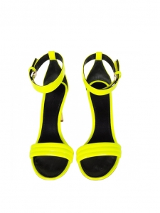 High heel bright neon yellow patent leather ankle strap sandals NEW Retail price €610 Size 37