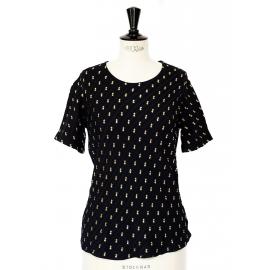 T-shirt en soie à chevrons noir brodé de fils dorés Px boutique 750€ Taille 34