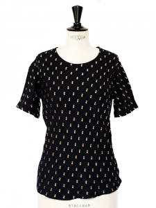 Black herringbone silk shirt embroidered with gold thread Retail price €750 Size 36/38