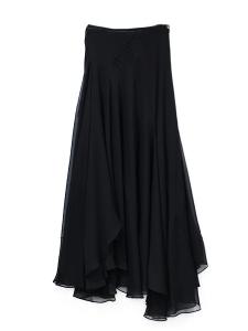 Black pleated silk-blend long skirt Retail price €1660 Size 38