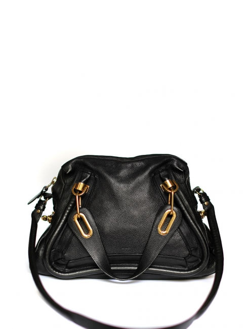 86a7164a9 Louise Paris - CHLOE PARATY black leather medium shoulder bag Retail ...