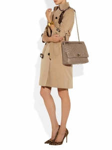Happy Medium Beige taupe quilted leather shoulder bag Retail price €1800