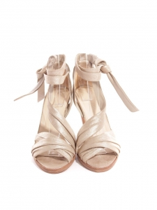 Light gold metallic leather heel sandals Retail price €750 Size 37