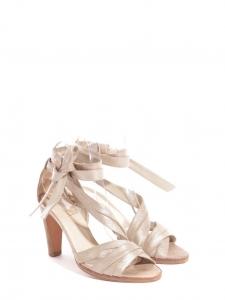 Light gold metallic leather heel sandals Retail price €750 Size 37