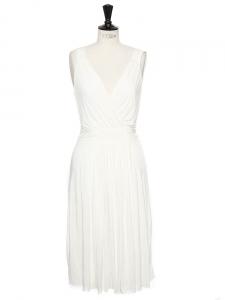 Robe sans manches décolleté V en jersey blanc crème Px boutique 250€ Taille 36