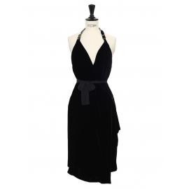 Robe de soirée dos nu en velours noir et chaîne Prix boutique 3000€ Taille 36