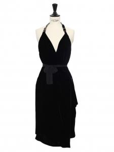 Black velvet open back cocktail dress Retail price €3000 Size 36