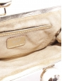 Beige fabric and silver gold metallic leather trim clutch bag Retail price €400