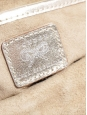 Pochette du soir clutch en cuir métallisé argent doré et tissu beige Prix boutique 400€