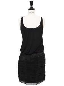 Black pleated silk and jersey sleeveless dress Retail price €1200 Size S