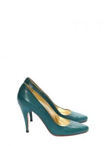 Escarpins à talons fins en cuir bleu vert Px boutique 500€ Taille 38,5