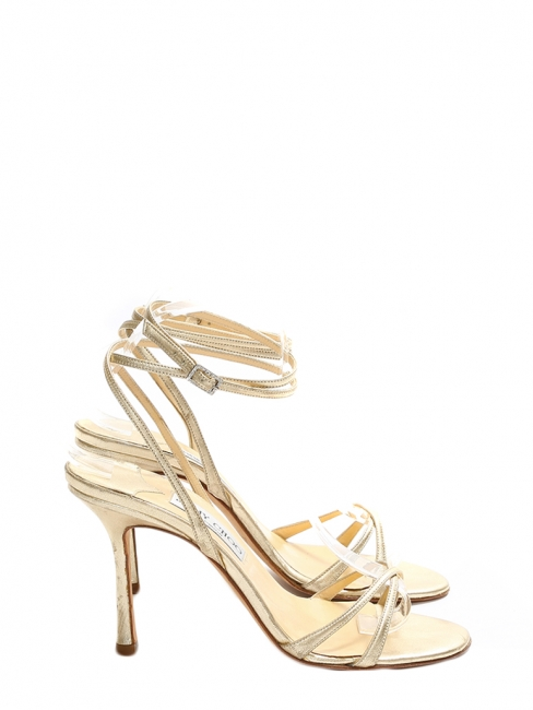 JULIET Gold leather heeled sandals with ankle strap Retail price €450 Size 37