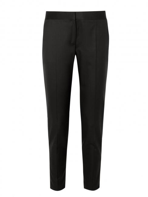 Pantalon Vivian slim fit à pli en crêpe de laine noir Px boutique 560€ Taille 34