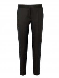 Black wool crepe slim fit zipper pants Retail price €560 Size 36