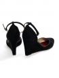 Escarpins à talon compensé et bride cheville en suède noir Prix boutique 590€ Taille 38
