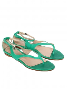Green leather flat sandals Retail price 500€ Size 37 NEW