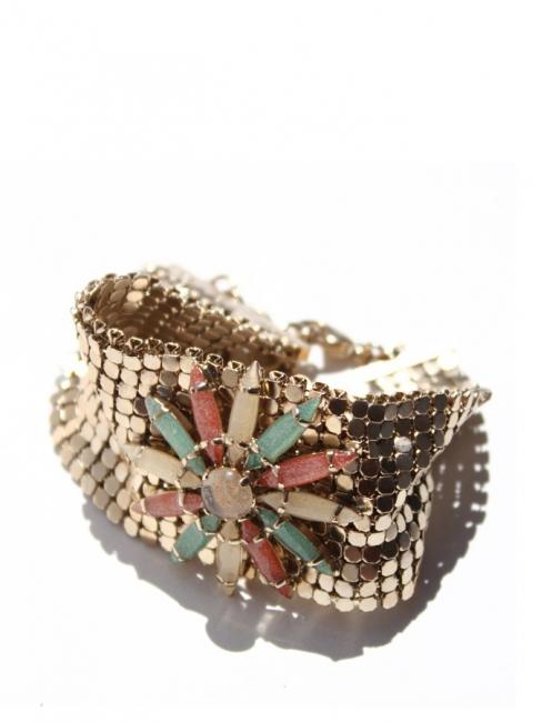 Bracelet manchette en laiton doré et pierres NEUF Px boutique 350€