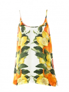Lemon yellow and orange citrus printed silk tant top with thin straps Retail price €450 Size 36