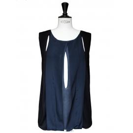Dark blue and black silk crepe sleeveless top Retail price €950 Size 36/38