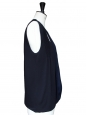 Dark blue and black silk crepe top Retail price 950€ Size 36/38