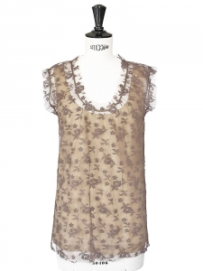 Light brown lace sleeveless top Size 34/36