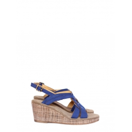 Royal blue cotton canvas wedge sandals NEW Retail price €280 Size 40