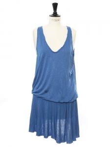 Robe sans manches en jersey de coton bleu Taille 36