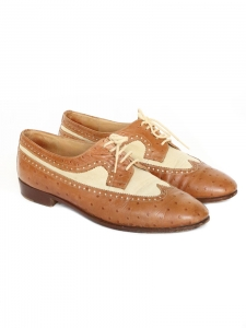 Brown ostrich leather and beige cotton derby shoes Size 37