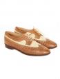 Derbies en cuir d'autruche marron et tissu beige Taille 37