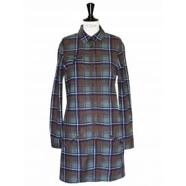 Navy blue brown and green plaid cotton dress NEW Retail price €250 Size 38