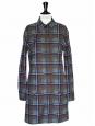 Robe manches longues en coton à carreaux bleu vert et marron NEUVE Px boutique 250€ Taille 38