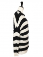 Black and white striped heavy knit wool and cashmere Breton sweater Size M