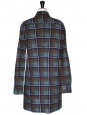 Long sleeves blue brown and mint green checked wool dress Size 38