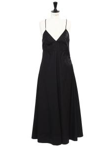 Black cotton open back fine straps long dress Retail price €300 Size 42
