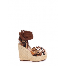 Leopard printed pony calfskin and brown leather jute wedge sandals Retail price €795 Size 37